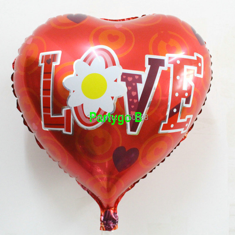 """18inch 50pcs/lot heart shape wedding red balloons """" love"""" mylar balloons wedding decoration balloon wedding party supplies(China (Mainland))"""