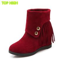 Actuales populares de tacón alto botas de flecos de calidad de cuero nobuck otoño invierno mujer botas cuñas de nieve en el tobillo patea los zapatos(China (Mainland))
