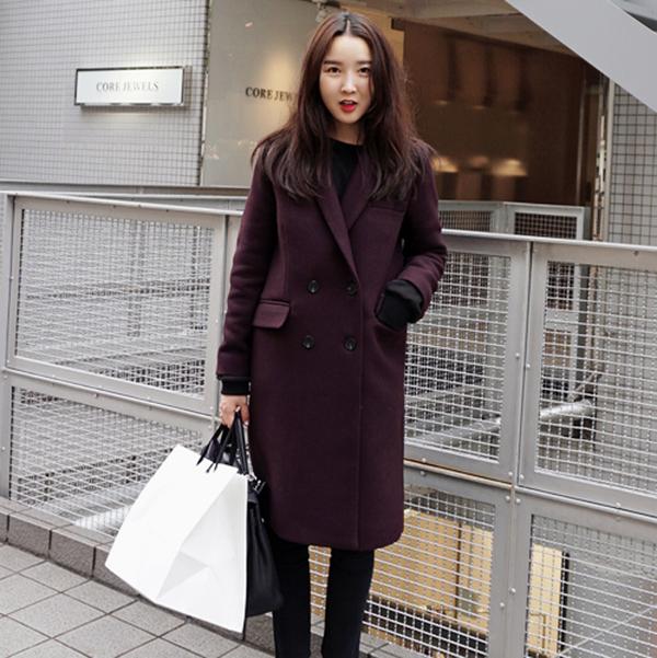 2015 Winter Women Wool Coat New Female Korean Slim Double Breasted Long Temperament Thick Lapel Coat Hot Sale