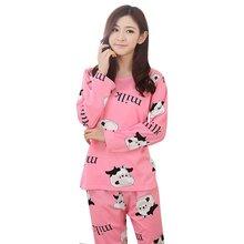 Новая Мода Осень-Весна Женщины Повседневная Пижамы Мультфильм Пижамы Домашняя Одежда Пижамы Набор Отдыха(China (Mainland))