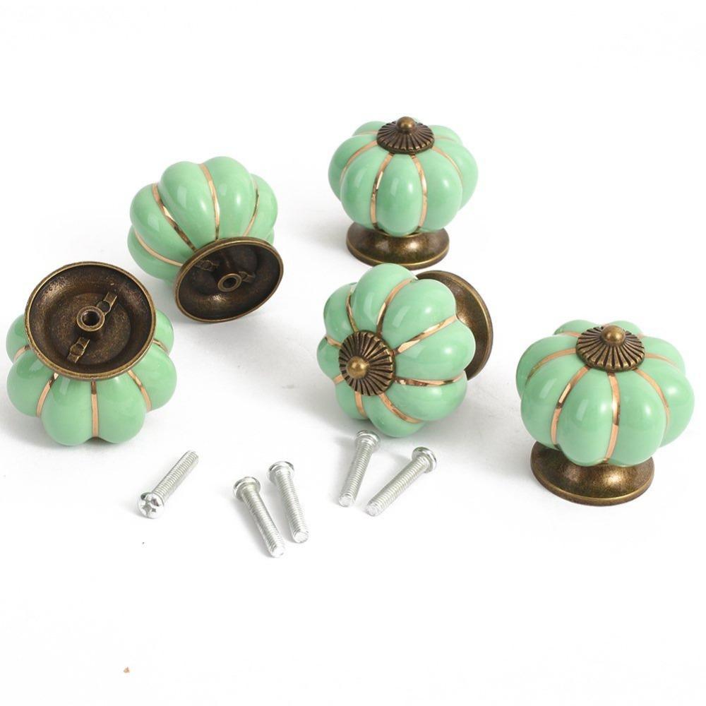 Kitchen Pumpkins Handles Pull Drawer Knobs Zinc Ceramic Door Cabinets Cupboard Hardware Set 5 - Tomshow store