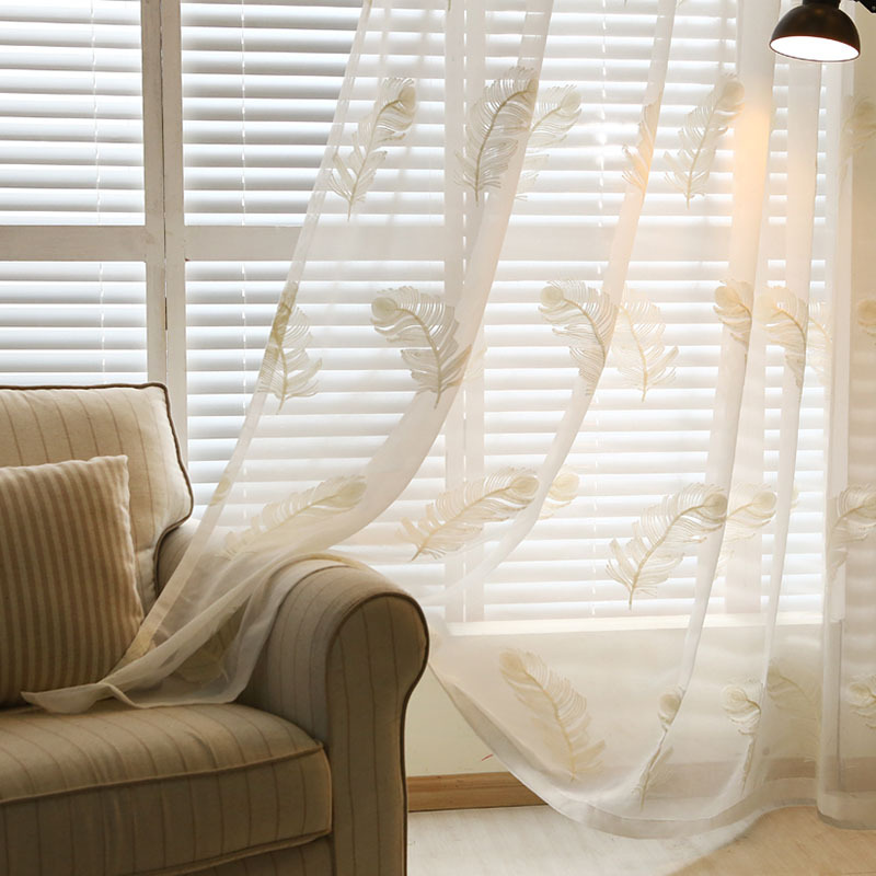 Embroidered Voile Chinese Luxury Window Curtains Tulle Sheer Curtains For Bed