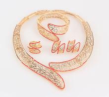 תכשיטי חרוזים אפריקאים סט כחול/ירוק/סגול/אדום קריסטל חרוזים כלה ניגרית סט שרשרת צבע זהב אפריקאי סט תכשיטי(China)