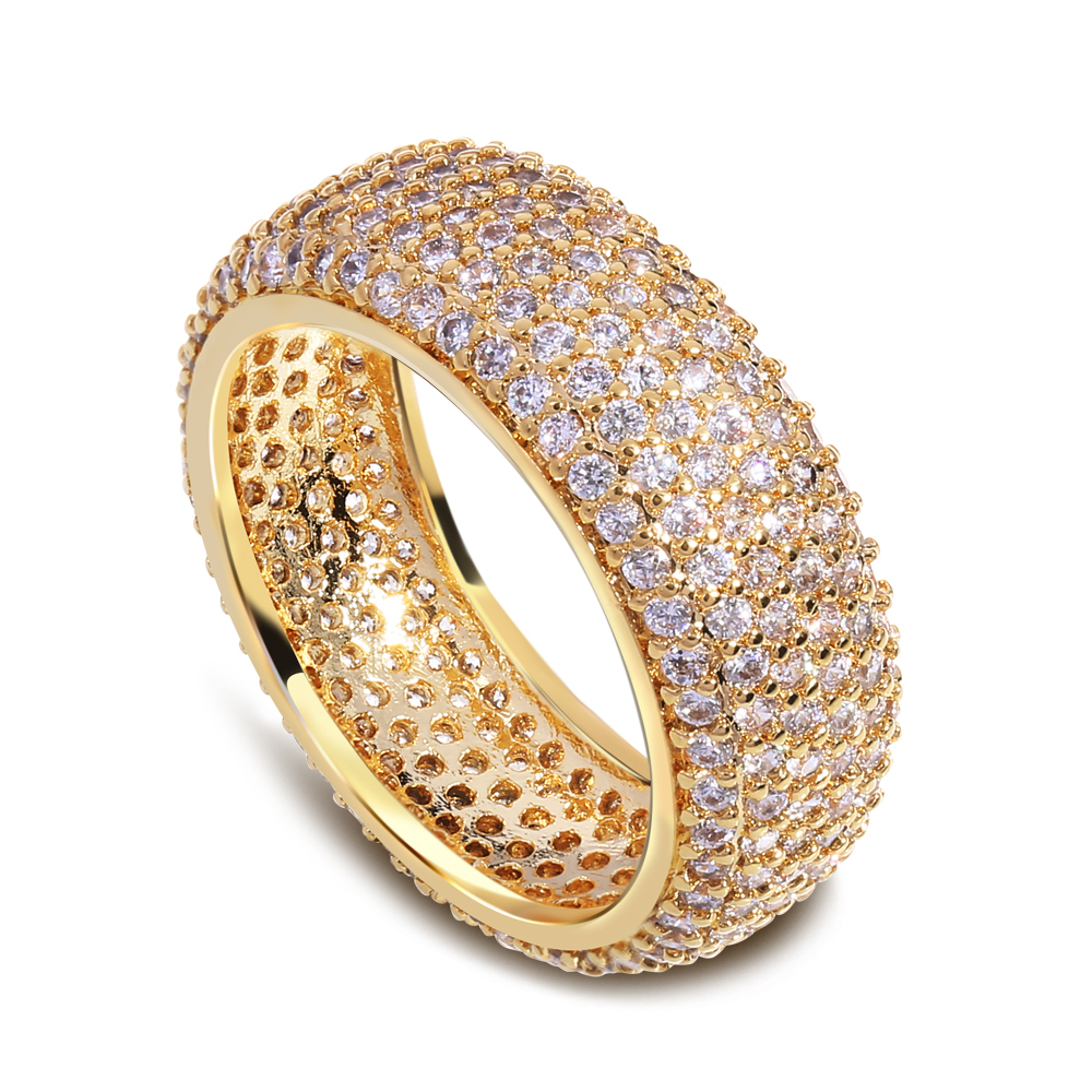 2016 yellow gold ring Real Direct Selling Bands Classic Rings Sparkly Zircon Ring with 18k Plate And Plated Elegant Design(China (Mainland))