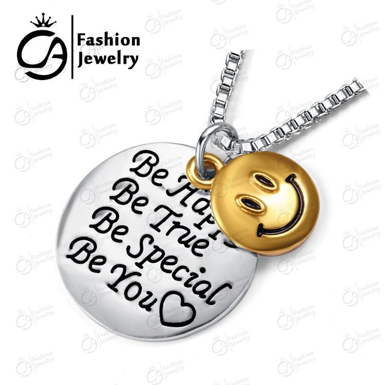 Fashion Happy True Special Smile Pendant Necklace Family Friends Gift Jewelry 2 #LN945 - OLA JEWELRY store