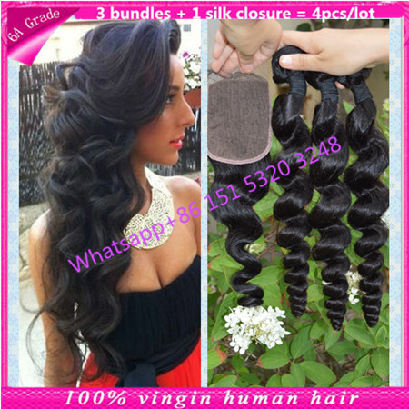 virgin brazilian loose wave with silk closure brazilian hair bundles with silk base closure brazilian hair with silk closure hot<br><br>Aliexpress
