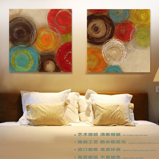 Colored circles modern abstract painting decorative artist canvas wall art free shipping for home office(China (Mainland))