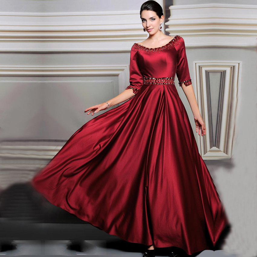 vestido de festa Women Formal Dresses Burgundy Evening ...