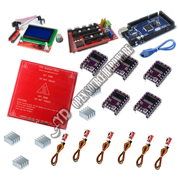 Yx 3D Kit 1.4 Reprap Mega 2560 r3 + Heatbed mk2b + 12864 LCD + DRV8825 + 3D Printer Kit