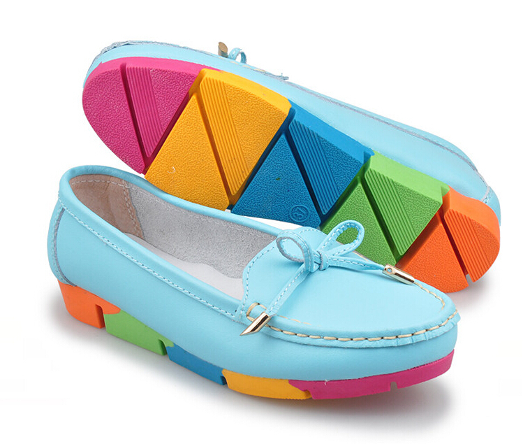 Genuine Leather Women Bow Moccasins Round Toe Rainbow Heel High Quality Cheap Female Casual Big Soft Mother Shoes Candy Color (China (Mainland))