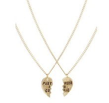New Fashion Good partners girlfriends letter heart necklace  gift for women girl N1597(China (Mainland))