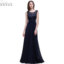 Jubah Demoiselle D'honneur Murah Navy Blue Lace Convertible Bridesmaid Dresses Elegan A-line Panjang Wedding Party Dress(China)