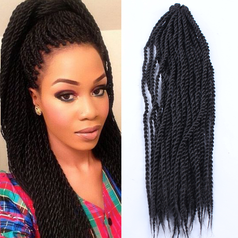 How To Do Crochet Box Braids Small : Box Braids Hair Crochet 18 Crochet Hair Extensions Synthetic Croche...