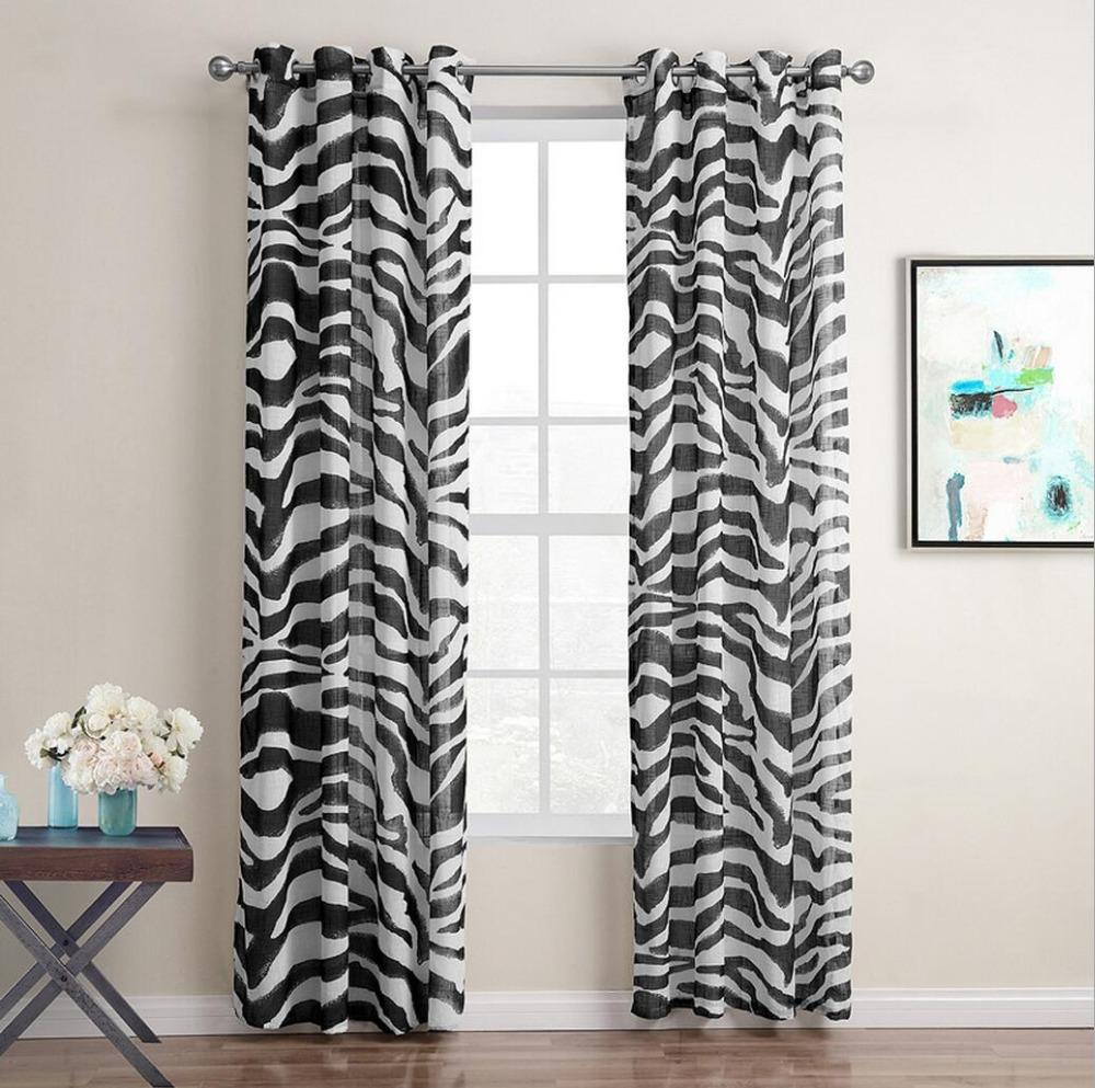 Sunnyrain 1 piece zebra stripe sheer curtain for living - Rideaux pour salon noir et blanc ...