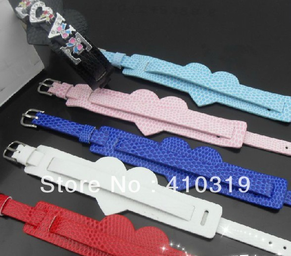 wholesale 100 strips 8mm wide / 21cm length heart style PU Leather wistband DIY Bracelet<br><br>Aliexpress