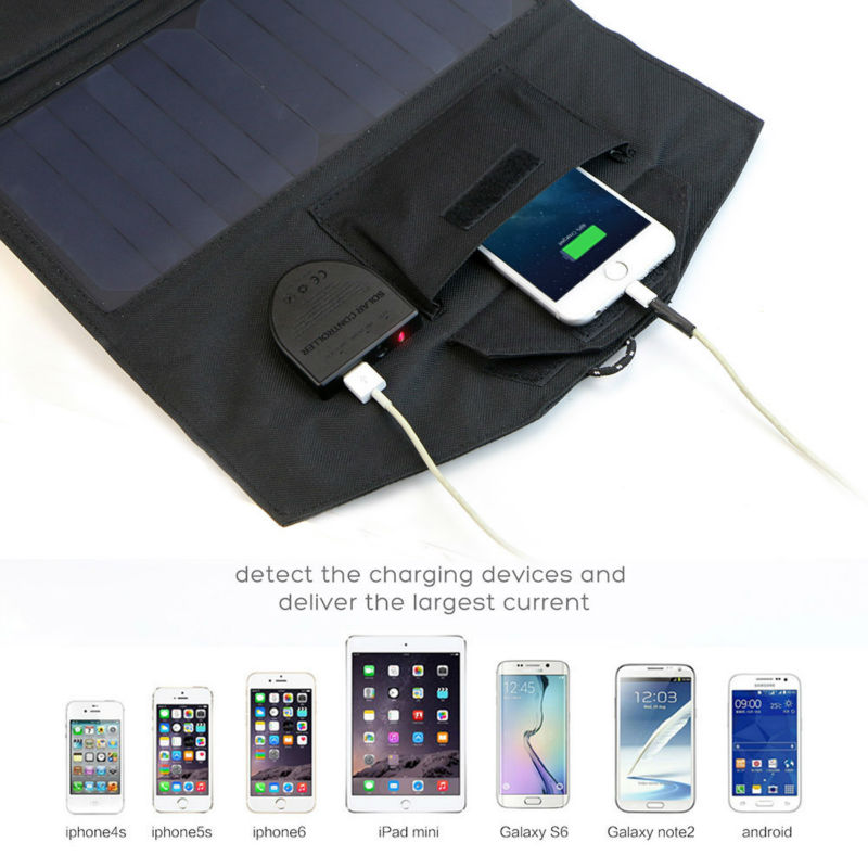 ALLPOWERS 5V / 18V 21W Outdoor Foldable Solar Panel Charger Power Bank External Battery Pack for Laptops Mobile Phones iphone