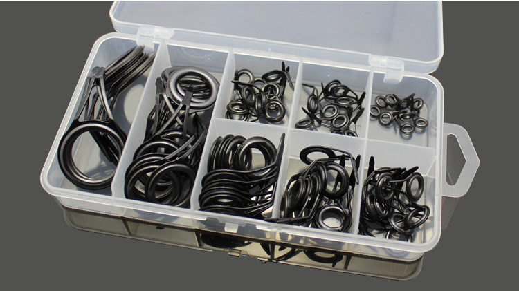 75 pcs Guide ring eye Ceramic stainless steel guide eyes plus boxed sets wire loop wire loop through the fishing rod accessories(China (Mainland))