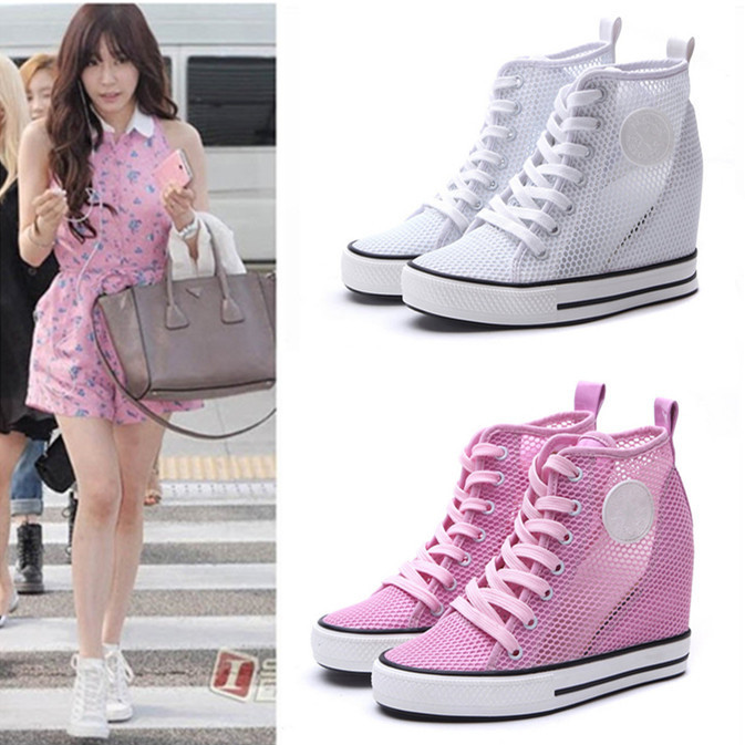 Free ship 2015 summer Air Mesh Wedges Sneakers Breathable Fabric Height Hollow Women casual Shoes high heels ankle boots - Lucy's Best Choice Fashion Store store
