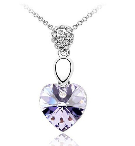 $0.99 Promotion Hot Selling GoldPlated 925 Silver Sterling Crystal Necklace Fashion For Women Wedding Jewelry New Store Activity(China (Mainland))
