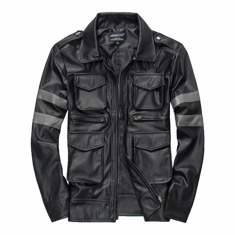 2015 New Arrival Autumn Men's Brand Leather Jacket Long Sleeve Slim Fit, Multi-pocket Good Design Mens Outwear PU Leather Jacket(China (Mainland))