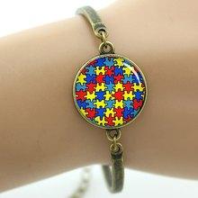 Tafree аутизм, сердце браслет красочные осознание аутизма головоломки части подвески на -- счастливые ключи для женщин ювелирные изделия T525(China)