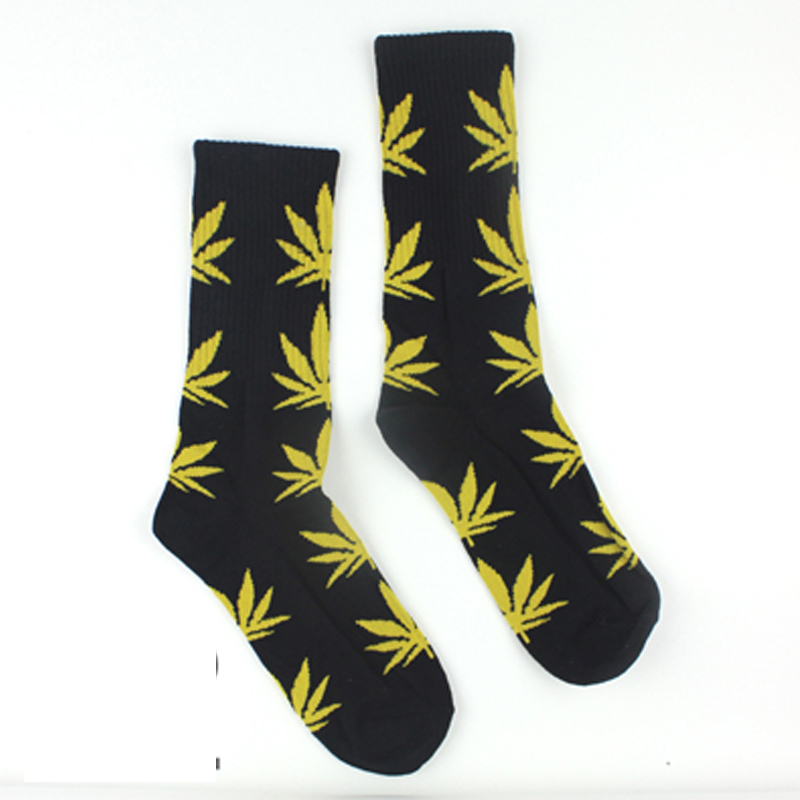 Weed Knee High Socks for Skateboard 39 Colors Weed Socks For Women Men's Sport Hip Hop Cotton Skateboard Sock Leafs Man Meias(China (Mainland))