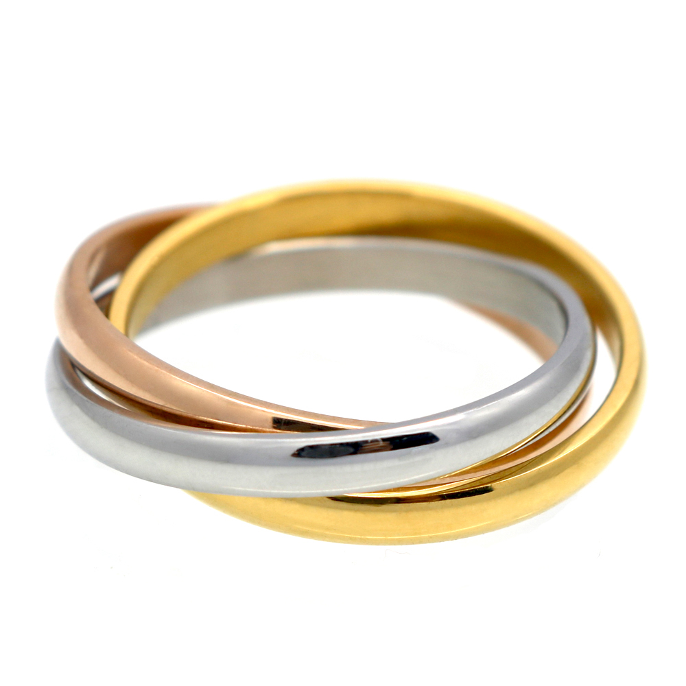 Top Quality Full Size Classical 3 Rounds 18K Rose Yellow White Gold Gold Plated Ring Fashion Jewelry Wholesale(China (Mainland))