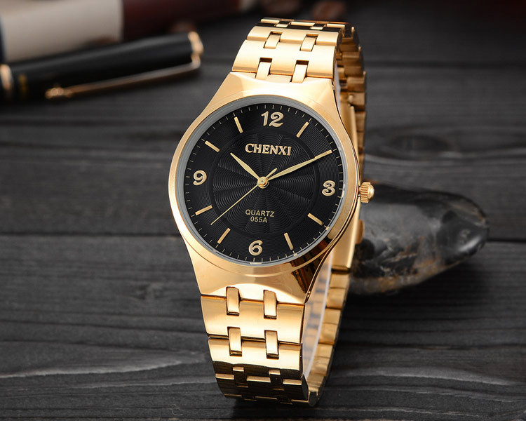 Brand CHENXI Woman Man Dress Quartz Watch 2015 New Lover's Csual Wristwatch Luxury Full Stainless Steel Business Gold Clock(China (Mainland))