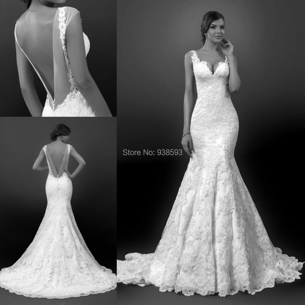 Vintage style mermaid lace low back wedding dresses sexy for Lace low back wedding dress