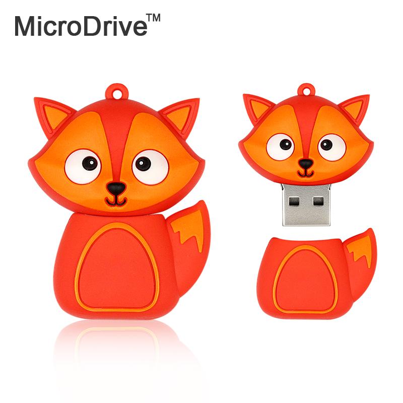 Cute little red fox USB Flash drive Real capacity 64GB 32GB 8GB cute red fox Pen disk memory stick 16GB U disk(China (Mainland))