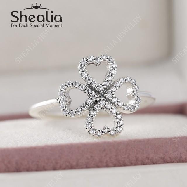 Новые стерлингового серебра 925 обручальные кольца для женщин ааа CZ проложить лепестки любовь четыре листа клевера кольца ювелирных украшений RIP148