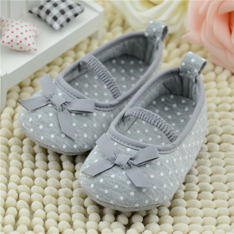 New Baby Shoes Soft Bottom  Toddler Kids Polka Dot Bowknot Crib Shoes First Walkers