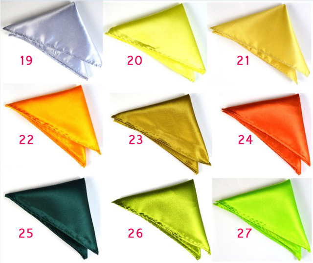 Formal Mens Satin Solid Color Pocket Square Handkerchief Hanky Napkin Cocktail Wedding Evening Party Yellow Free Shipping 100PCS