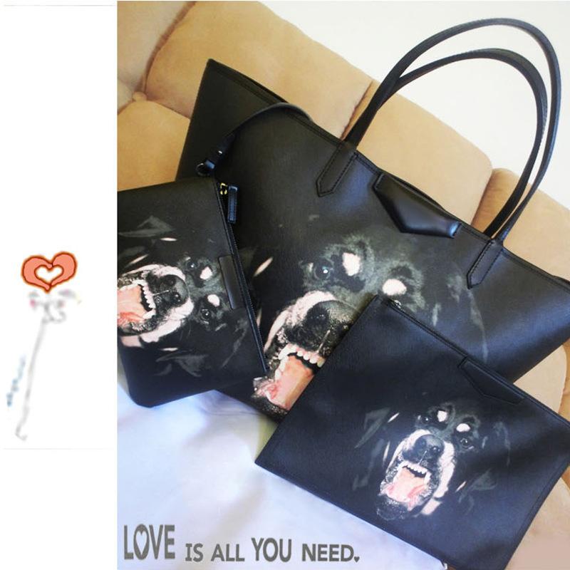 2016 new bag big picture rottweiler dog pack Hound dog head pattern handbag European and American big personality(China (Mainland))