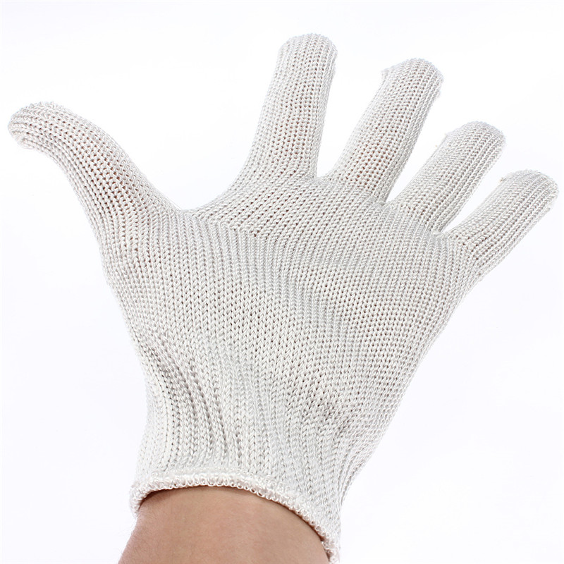 Stainless Steel Wire+Polyester+Chemical Fiber Safety Works Anti-Slash Stab Resistance Cut Proof Gloves White(China (Mainland))