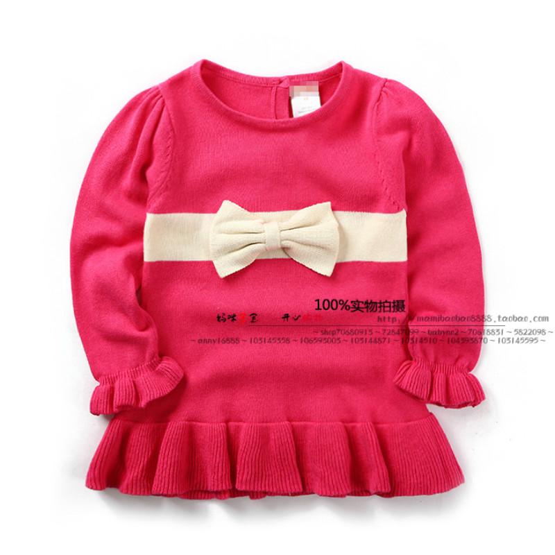 2015 New spring Fashion small clothing baby girl princess sweater knit 100% cotton fashion all-match bow(China (Mainland))