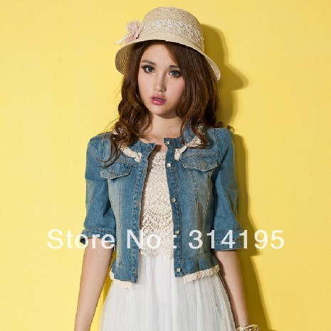 Free Shipping 2013 Spring Pearl Denim Outerwear Small Laciness Patchwork Short Design Lace Slim Waist Puff Sleeve jdd11007