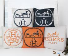 H pillow cover, European court style Geometry art Paris horse H Luxurious throw pillow case pillowcase wholesale(China (Mainland))