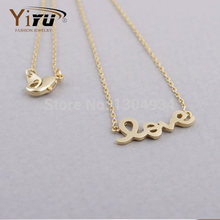 Free shipping, 30pcs/lot Gold and Silver Love Letter Necklace, Romance Necklace-n052(China (Mainland))