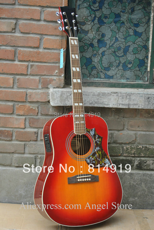 41 inch sunburst hummingbird Acoustic Guitar with Fishman presys Pickups Acoustic Electric Guitar in stock(China (Mainland))