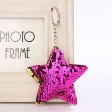 RE Linda estrella/gato llavero brillo pompón lentejuelas llavero regalos para mujeres llaveros mujer bolso de coche accesorios llave anillo de pompón(China)