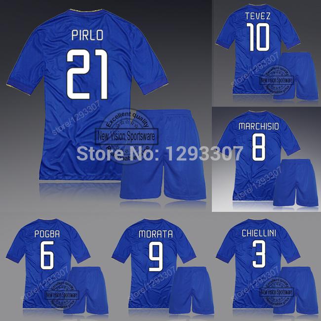 2014 15 Embroidery Blue Away Pirlo Pogba Tevez Vidal Chiellini Football Kit Uniform Men Sports Shirt Outfit Soccer Jersey Set(China (Mainland))