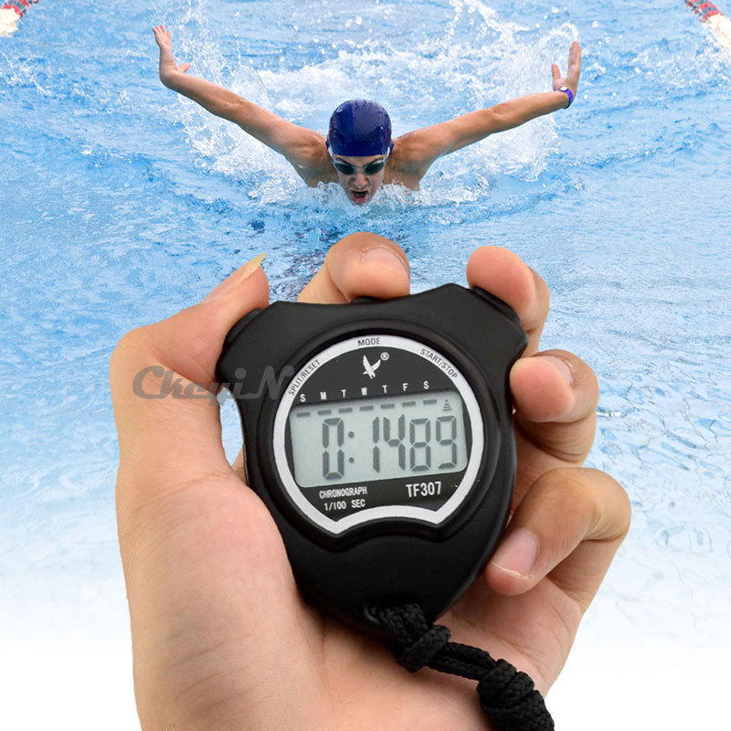 1/100 Second Stopwatch Professional Chronograph Handheld Digital LCD Sports Athletics Counter Timer with Strap 0.3-MB018H<br><br>Aliexpress