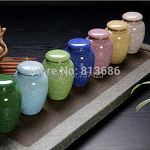 New 2015 Crackle Glaze Ceramic Tea Caddy With Cover Purple Grit Tea Canister Tea Jar tea storage coffee bean storage bottle(China (Mainland))
