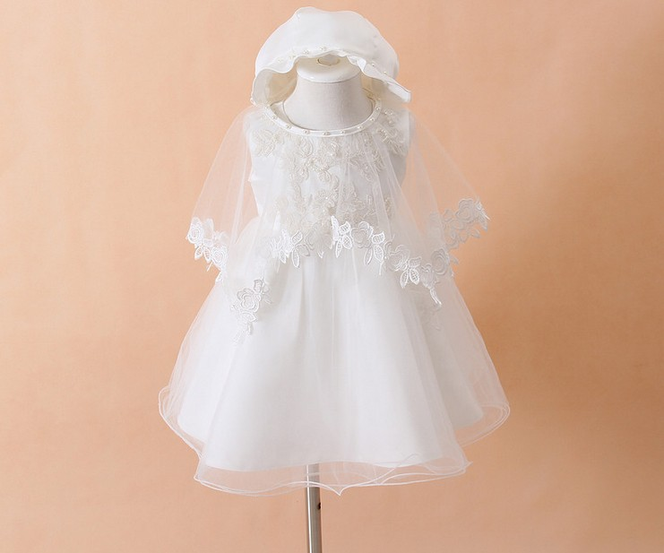 3pcs/set Newborn Baby Christening Gown Infant Girl's White Princess Lace Baptism Dress Toddler Baby Girl Chiffon Dresses(China (Mainland))
