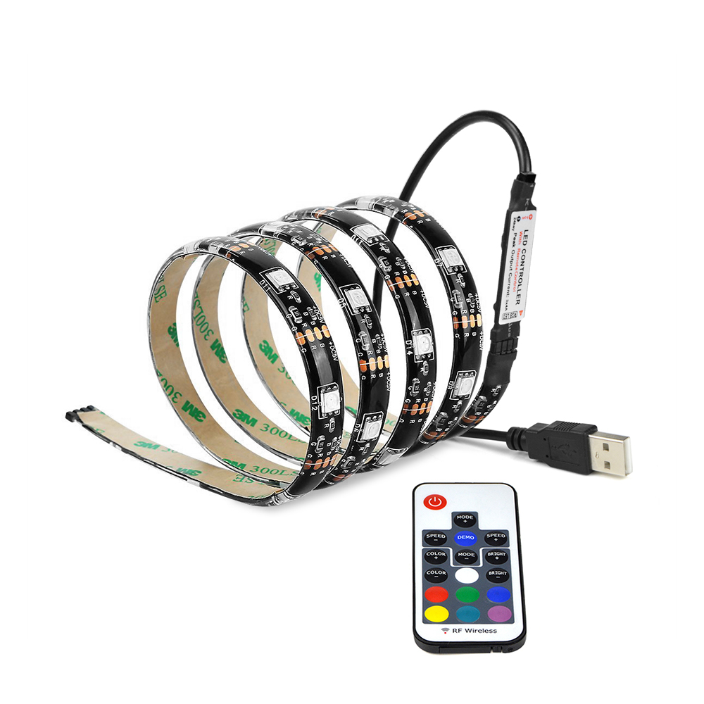 1Set 5050 RGB USB LED Strip Light 1m 2m 3m 4m 5m Waterproof DC 5V Flexible Light 17Key RF Controller indoor Decor Led Lamp