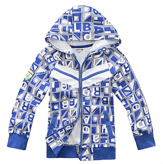 OKK spring autumn blue green children child  boy kid baby hoody hooded letter coat jacket cardigan top outwear LCQZ0903