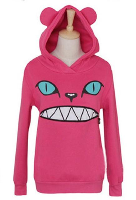 Женщины's Цветed Молния Smile Mouth Cat 3D Ear Hoodie Cat Front Jumper Длинный ...