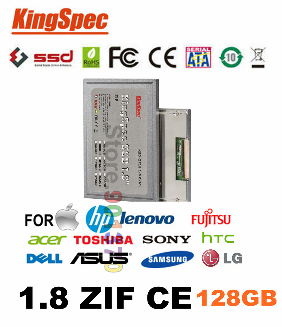 Kingspec 1.8'' ZIF CE SSD Disk 128GB ATA IDE ZIF2 Solid State Disk MLC For Dell Mini12,D420,D430,XT,HTC 9500 For Macbook air,(China (Mainland))