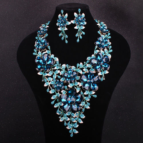Luxury Bridal Jewelry Sets Gold Plated BLue Crystal Big Statement Necklace Earrings Wedding Prom Party Accessories Brides Women